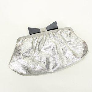 Sondra Roberts Silver Leather Bow Clutch